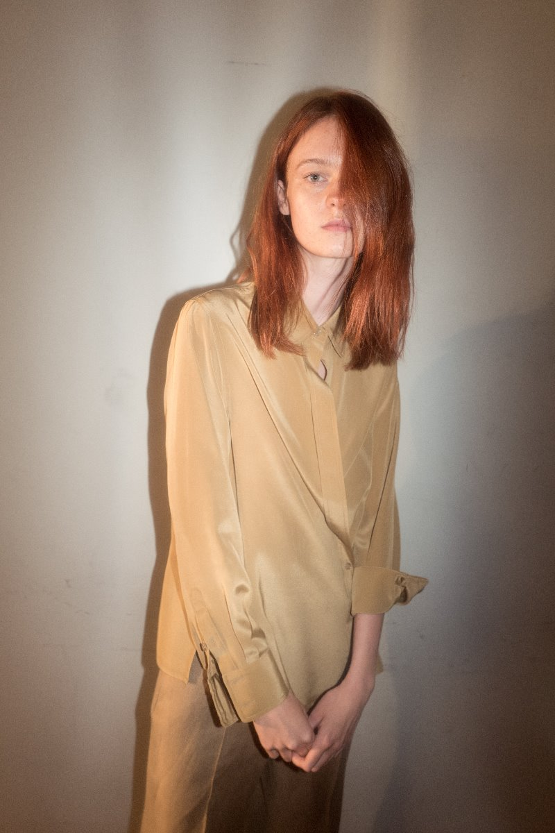 Beige wrap silk shirt